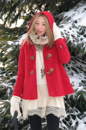 red coat - tan laced up boots - ivory lace dress Primark dress - black tights