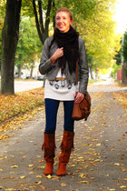fringed H&M boots - Vero Moda jacket - Secondhand sweater