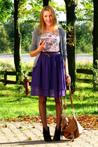 purple sheer handmade skirt - black Oasis boots - tawny Primark bag