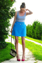 sky blue vintage skirt - brick red vintage bag - periwinkle c&a top