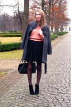 black asos boots - black sheer tulle Vila dress - gray coat