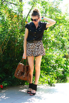 buttons up Dorothy Perkins shirt - Atmosphere bag - leopard print H&M shorts - A