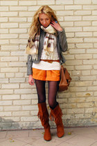 tawny fringed H&M boots - charcoal gray Vero Moda jacket