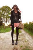 black some old cardigan - brown faux fur Primark bag - black asos clogs
