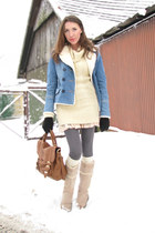light blue Miss Selfridge jacket - beige next sweater - nude vintage boots - bro