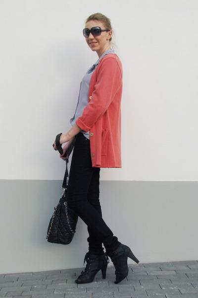 coral vintage cardigan - black New Yorker boots - silver sheer vintage shirt