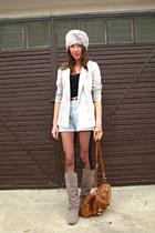 silver hat - tawny Primark bag - light blue vintage shorts