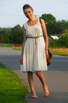 cream sheer H&M dress - tawny Primark bag - bronze H&M belt