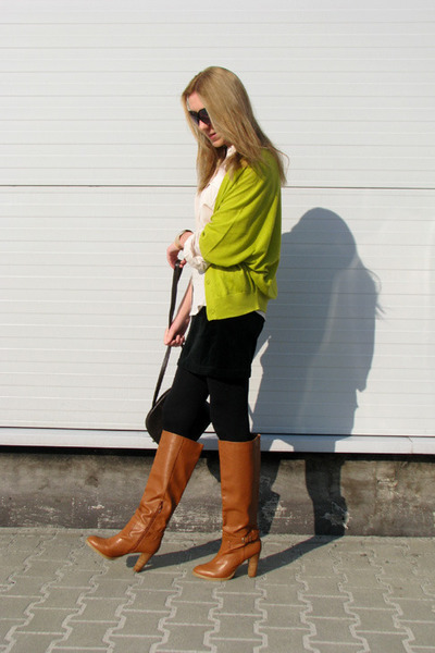 burnt orange chunky H&M boots - white sheer c&a shirt - black velvet DIY skirt