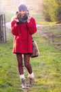 Tan-laced-up-boots-ruby-red-wool-blend-vintage-coat