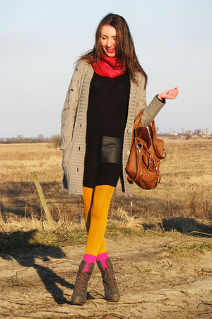 heather gray laced up yennika boots - black H&M dress - orange tights - hot pink