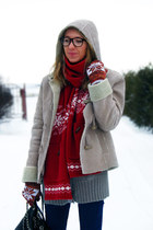 norwegian print H&M scarf - fake shearling new look coat - Primark bag