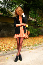 burnt orange ruffled H&M dress - black next blazer - tawny Primark bag