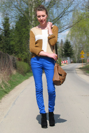 bronze cross sweater - blue F&F pants - black Primark wedges
