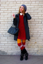 ruby red knitted c&a dress - black Primark boots