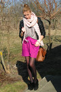 Black-oasis-boots-black-orsay-jacket-peach-bubble-knit-camaieu-scarf