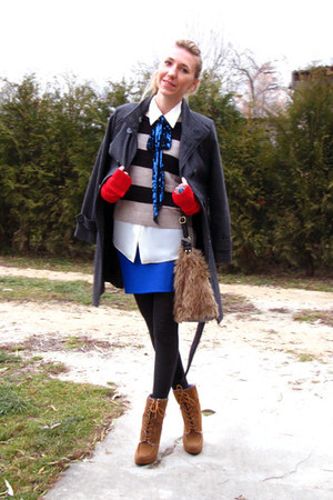 blue handmade skirt - tawny lace up Primark boots - charcoal gray coat