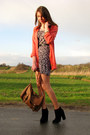 Heather-gray-leopard-print-secondhand-dress-salmon-vintage-blazer-burnt-oran