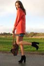Heather-gray-leopard-print-secondhand-dress-salmon-vintage-blazer-burnt-oran