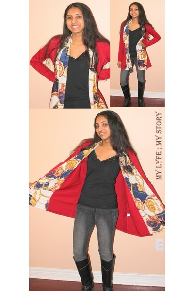 ruby red OASAP cardigan - black boots boots - navy Club Monaco jeans