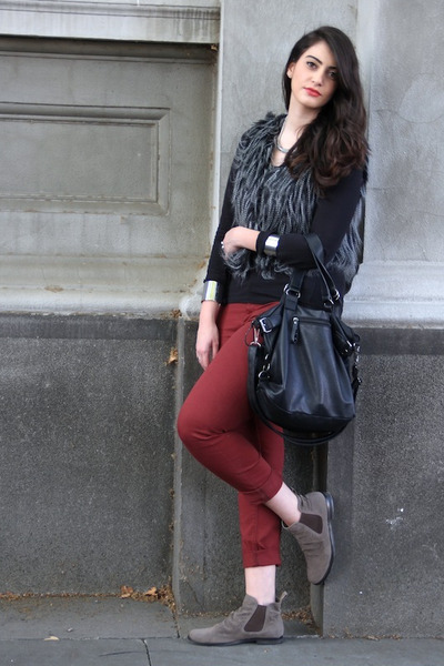 brick red warehouse pants - beige Payless boots - black H&M top