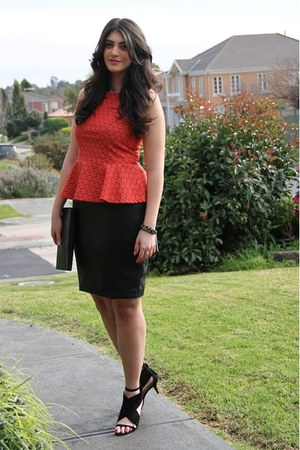 coral peplum asos top - black clutch Equip bag - black RMK heels