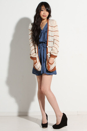 navy satin Gentle Fawn dress - nude striped obey cardigan