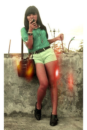 black bag - lime green Lee shorts - black heels - turquoise blue sheer blouse