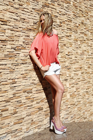salmon Zara blouse - periwinkle Sergio Rossi shoes