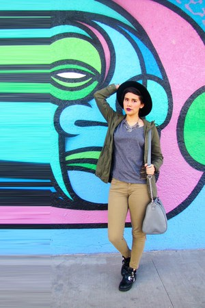 black cut out GoJane boots - gray Steve Madden bag - dark khaki Macys pants