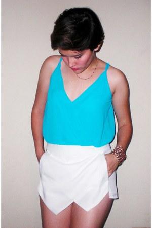 brown Steve Madden wedges - white skort Zara skirt - aquamarine naked zebra top