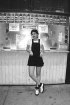 white creepers TUK shoes - black ruffled Forever 21 socks - black romper