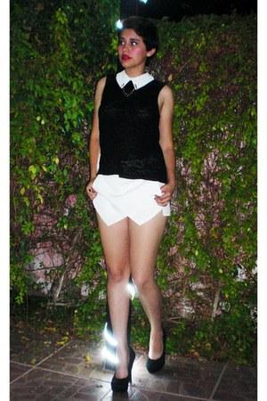 white skort Zara skirt - black Forever 21 top - black Steve Madden heels