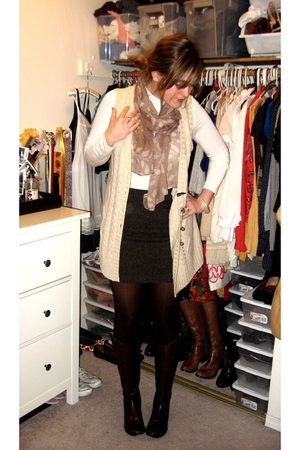 brown skirt - beige vest - white shirt - brown scarf - brown boots