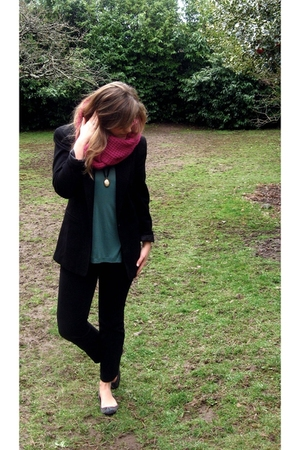 black vintage blazer - pink Gap scarf - black J Brand pants - blue ANDRE shoes -