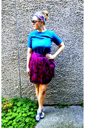purple Marc by Marc Jacobs skirt - blue vintage blouse - blue Old Navy shoes - w