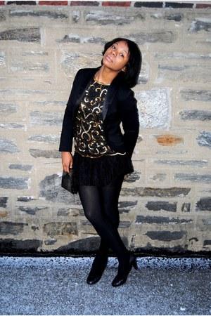 black Forever 21 blazer - black vintage skirt - black vintage blouse