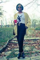 thrifted top - gold cardigan - pants