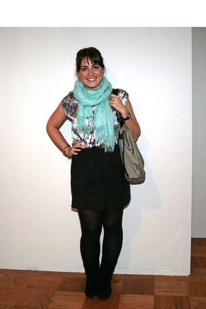 silver Theory shirt - black Loft skirt - black Steve Madden boots - blue Nordstr
