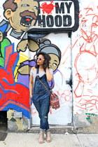 white Forever 21 bodysuit - blue denim overalls H&M jeans