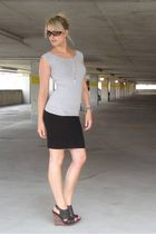 black skirt - black Hallelu shoes - silver t-shirt