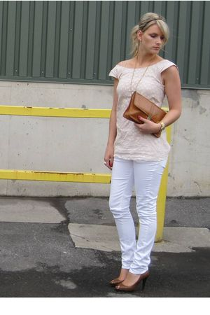 white H&amp;M pants - beige ACo Designs top - brown Aldo shoes