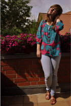 blue Levis jeans - brown Deichmann - pink Marimekko for H&M shirt - silver Fork 