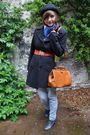 Blue-levis-jeans-black-thrifted-coat-brown-thrifted-purse-gray-van-haren-s