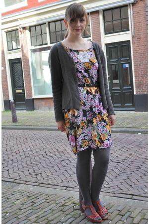 black selfmade dress - gray no name cardigan - orange thrifted shoes - black thr