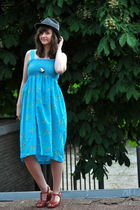 blue thrifted dress - brown thrifted shoes - gray thrifted hat - silver selfmade