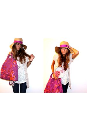 celyn b hat - purple Marc by Marc Jacobs bag - H&M t-shirt - H&M cardigan