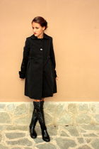black Max Mara coat - Dolce&Gabbana boots