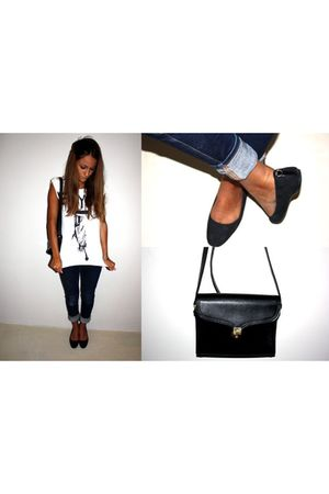 happiness t-shirt - black Gucci shoes - black longchamp bag