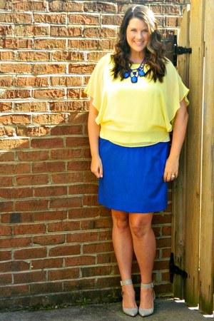 blue J Crew skirt - blue Anthropologie necklace - light yellow ann taylor top